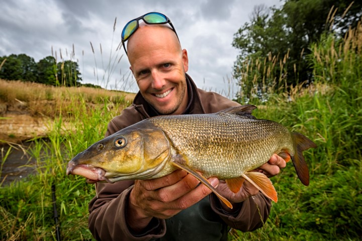 Barbel caught in a small stream
