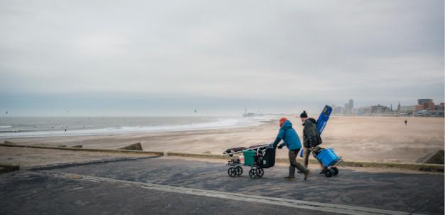 Beach fishing in winter