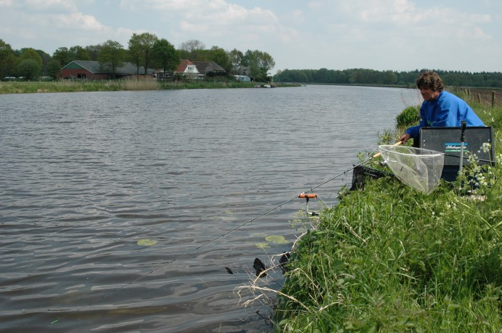 Feeder fishing in the river Vecht