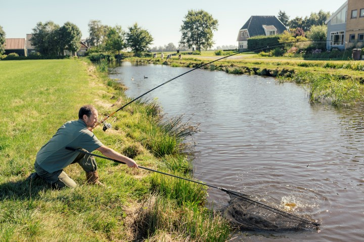Carp fishing in a small polder water