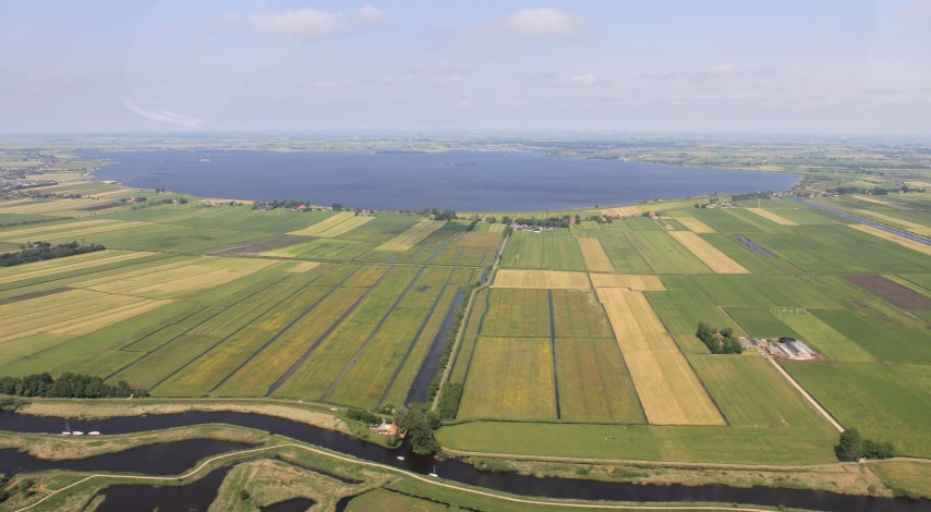 Aerial picture of a Frysian polder