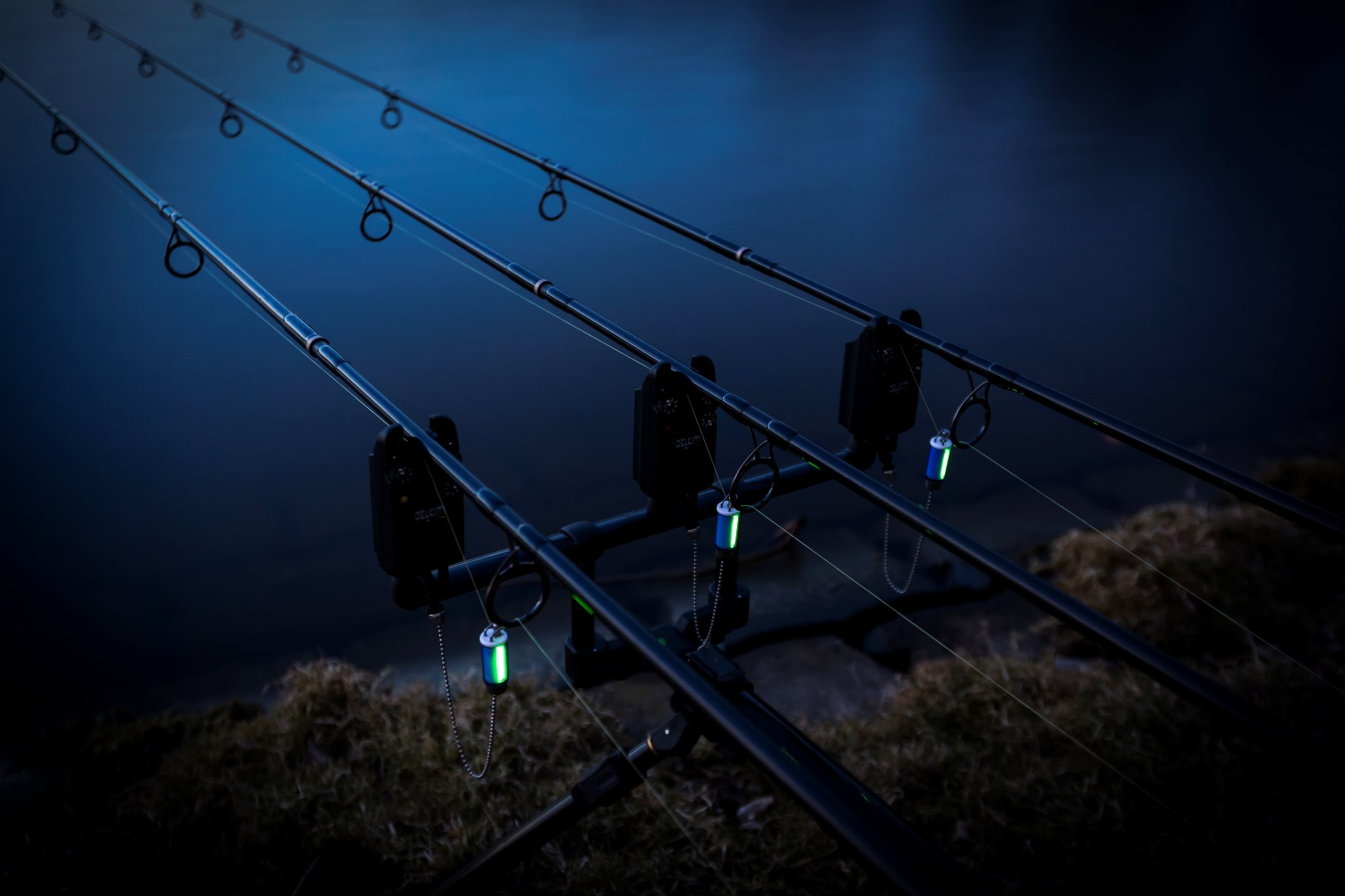 Night fishing with three rods