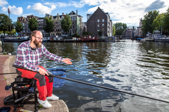 Bream fishing in the middle of Amsterdam