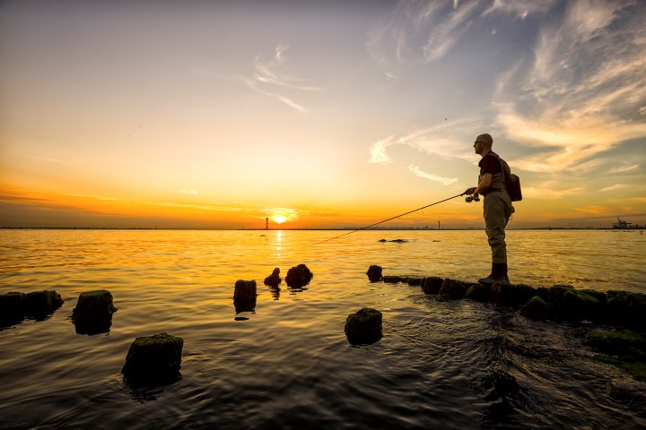 Lure fishing from shore