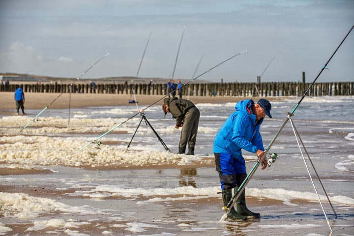 Beach fishing is very popular