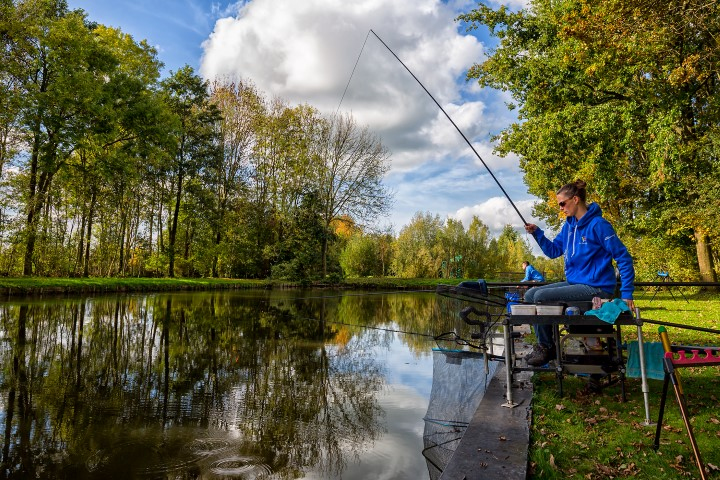 Coarse fishing in a fishing pond